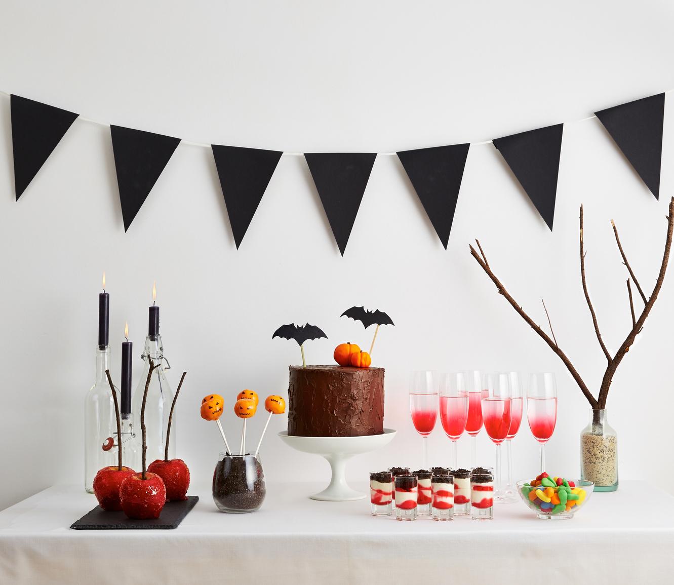 Halloween buffet on seasonal decorated table
